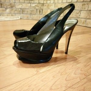 bebe Shoes - Bebe Leather Peep-toe Sling Backs